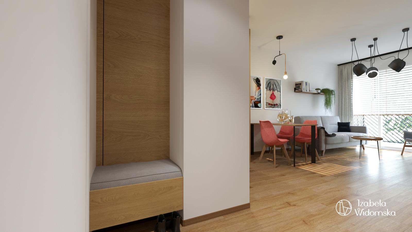 Loftowa kawalerka | Dopasowanie Dobre życie Inspirujące wnętrze | Projekt wnętrza architekt Izabela Widomska