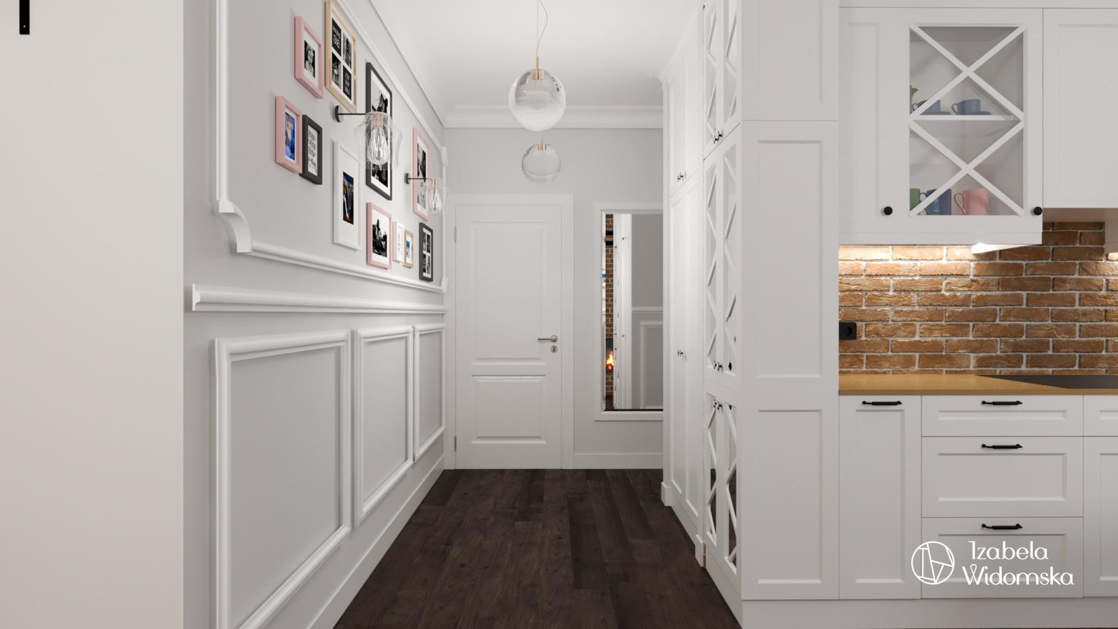 Mieszkanie z wyspą i ceglanym kominkiem | Piękne Eleganckie Glamour | Projekt wnętrza architekt Izabela Widomska