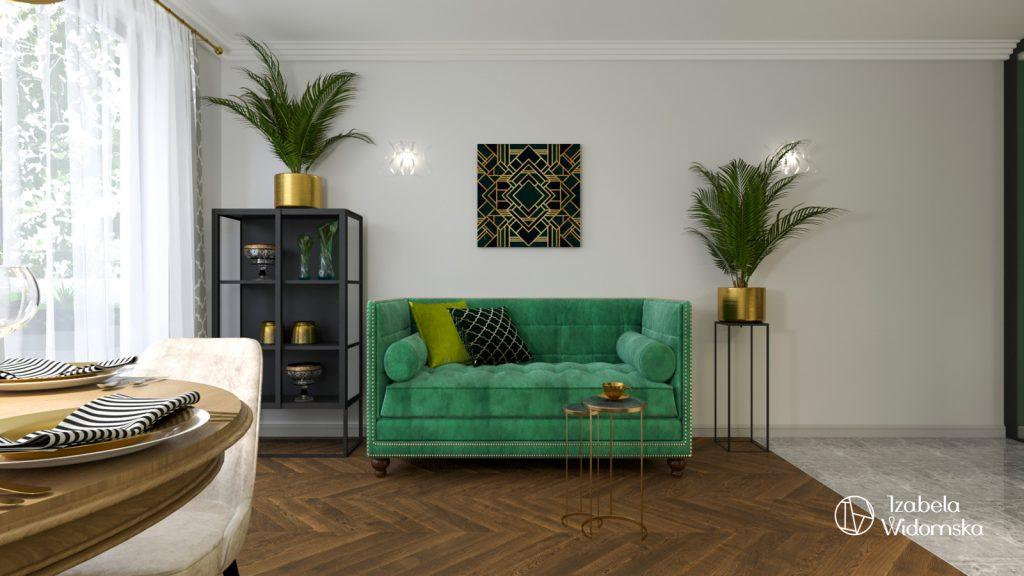 Glamour, art deco i zieleń | Piękno Harmonia Dopasowanie | Projekt wnętrza architekt Izabela Widomska