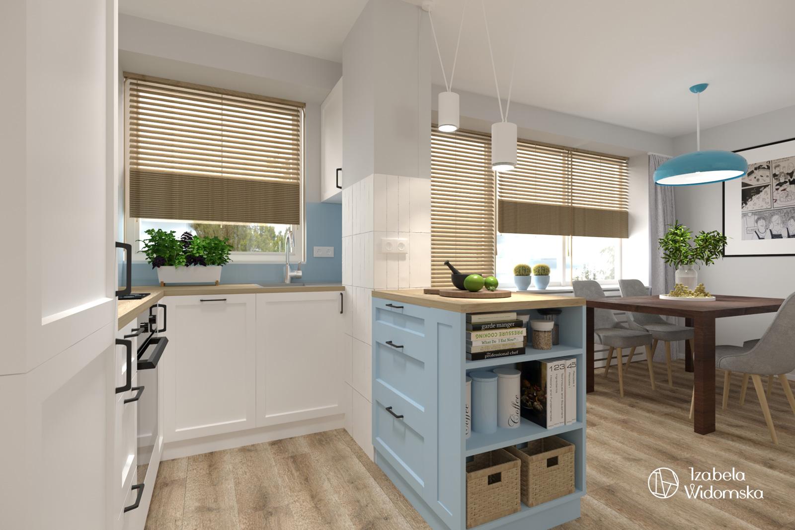 Małe mieszkanie z błękitną wyspą | Komfort Dopasowanie | Projekt wnętrza architekt Izabela Widomska